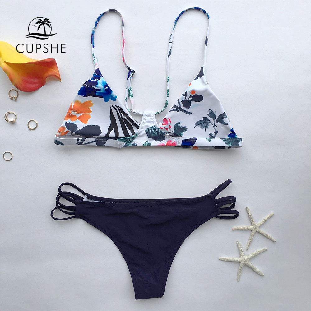 CUPSHE The Fall Floral Yours Bikini Set Women Sexy Halter Two Pieces Swimwear 2019 New Girl Beach Bathing Suits Swimsuits