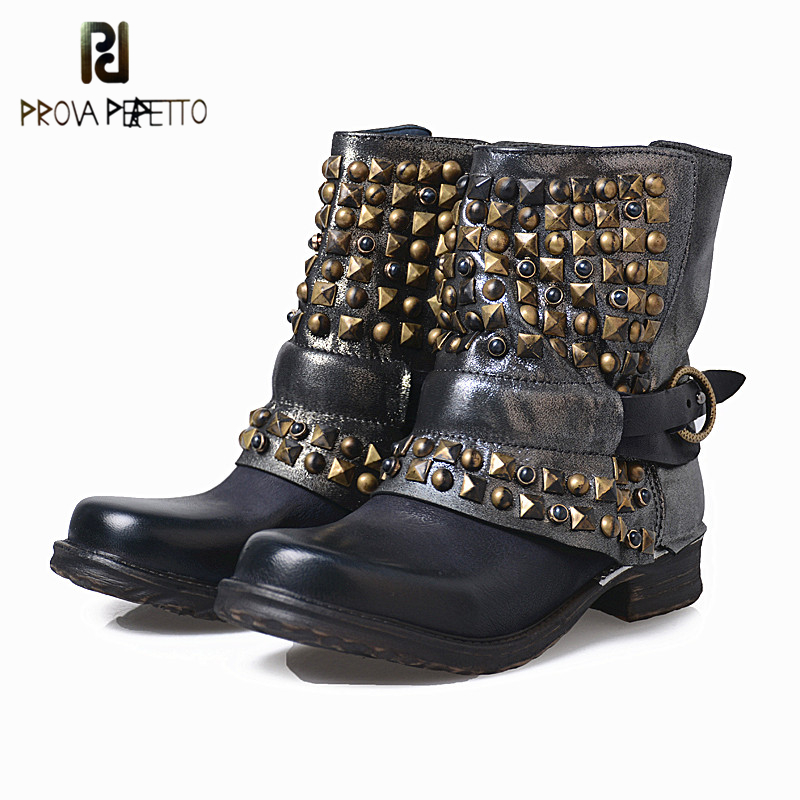 Prova Perfetto Fashion Neutral Style Rivets Hand-some Strap Zipper-side Woman Boots Punk Design Hoof Heel Short Motercycle Boots ...