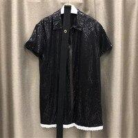 Черный блестками платье Для женщин элегантный короткий рукав платье Для женщин 2018 Осень Свободный мини платье