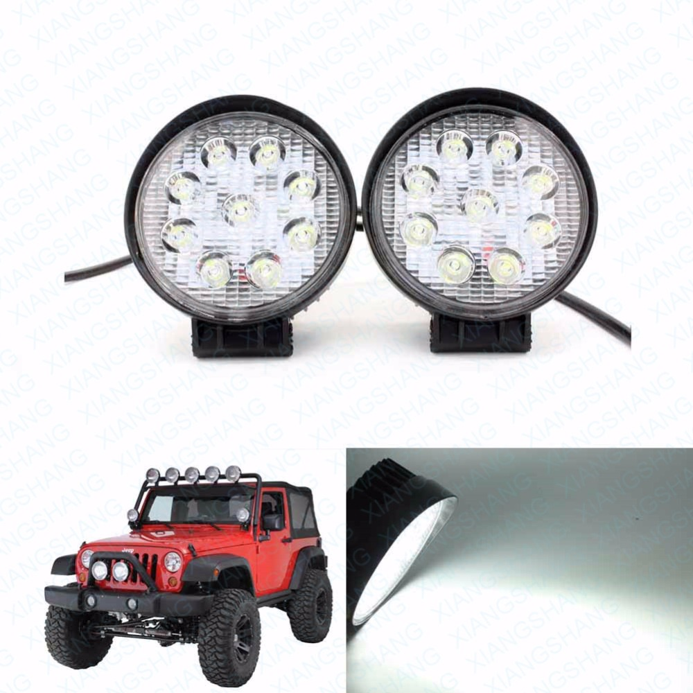 2x 27W Car Styling Driving LED Work Light Bar Off Road Lamp Flush Mount External Light for Jeep Vehicle Tractor Truck Boat SUV 2pcs dc9 32v 36w 7inch led work light bar with creee chip light bar for truck off road 4x4 accessories atv car light