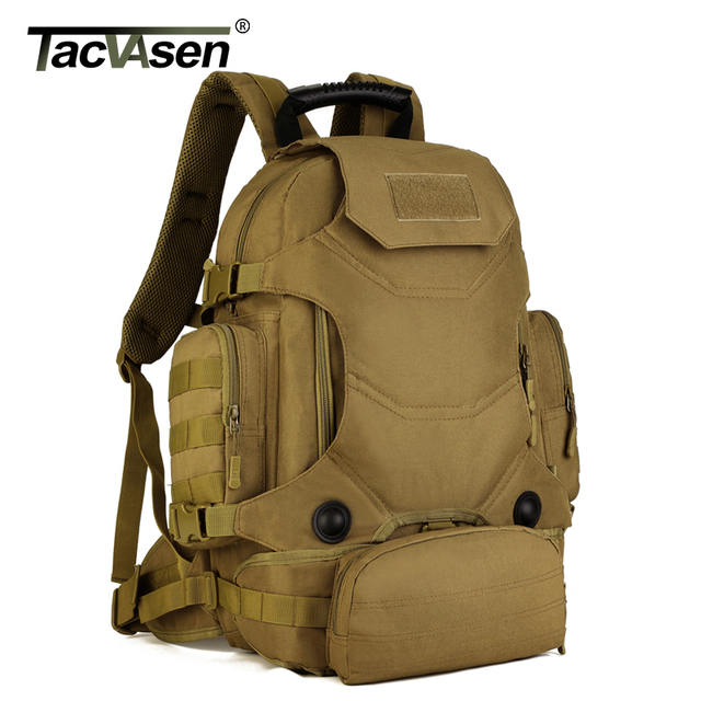 TACVASEN 40L Military Backpack Camouflage Laptop Bags Waterproof Travel  Backpack Army Soldier Knapsack Molle Combat Backpacks