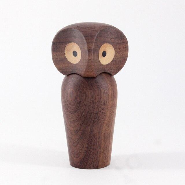 Wood Owl ornament Gift Creative Home Decoration accessories decor figurine modern miniature figurines decoracao para casa maison 3