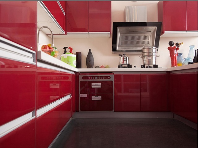 2017 hot sales high gloss lacquer kitchen cabinets red ...
