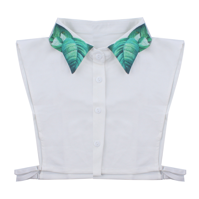 White Fake Tie Green Leaf Printing Shirt Fake Collar Sweater Shirt Cotton Fake Tie Clothing Accessories New Fashion