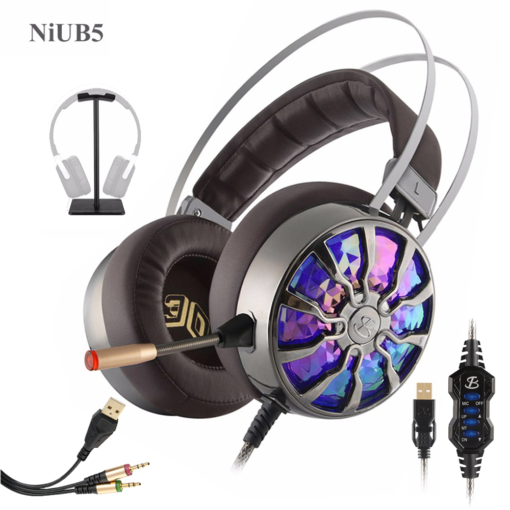 Gaming Headphone 7.1 Stereo Surrounded for Computer Deep Bass Game Headset with Mic Vibration LED Lamp Noise Canceling Headphone somic g951 original gaming headphone deep bass stereo sound usb headband with mic vibration led computer game headset