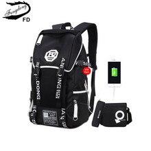 FengDong 3 pcs big size black waterproof backpack men school bag set high school backpacks for boys one shoulder bookbag pen bag