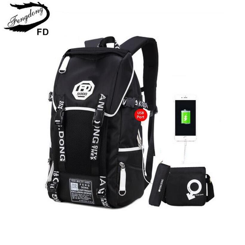 FengDong 3 pcs big size black waterproof backpack men school bag set high school backpac ...