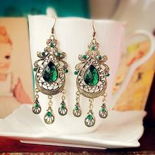 water drop retro earrings style for women green colour