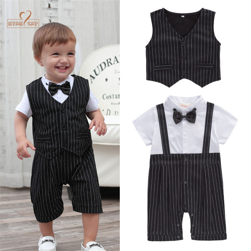 Nyan Cat Baby boy clothing summer gentlemen vest+ bow tie striped romper set infant toddler clothes for birthday wedding holiday gentlemen style striped baby boy romper playsuit