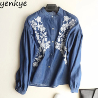 Vintage 2018 Women Blue Tencel Denim Shirt Floral Embroidery Blouse Female Long Sleeve Stand Collar Casual