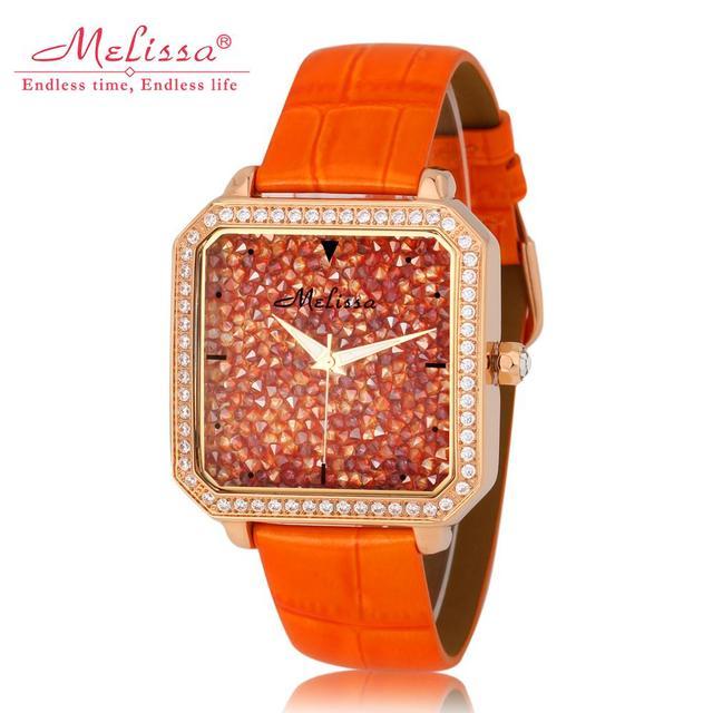 d2a97971c55 Cristais de luxo Estrelado Projeto Mulheres Relógios de Marca MELISSA  Quadrado Do Vintage Vestido relógio de