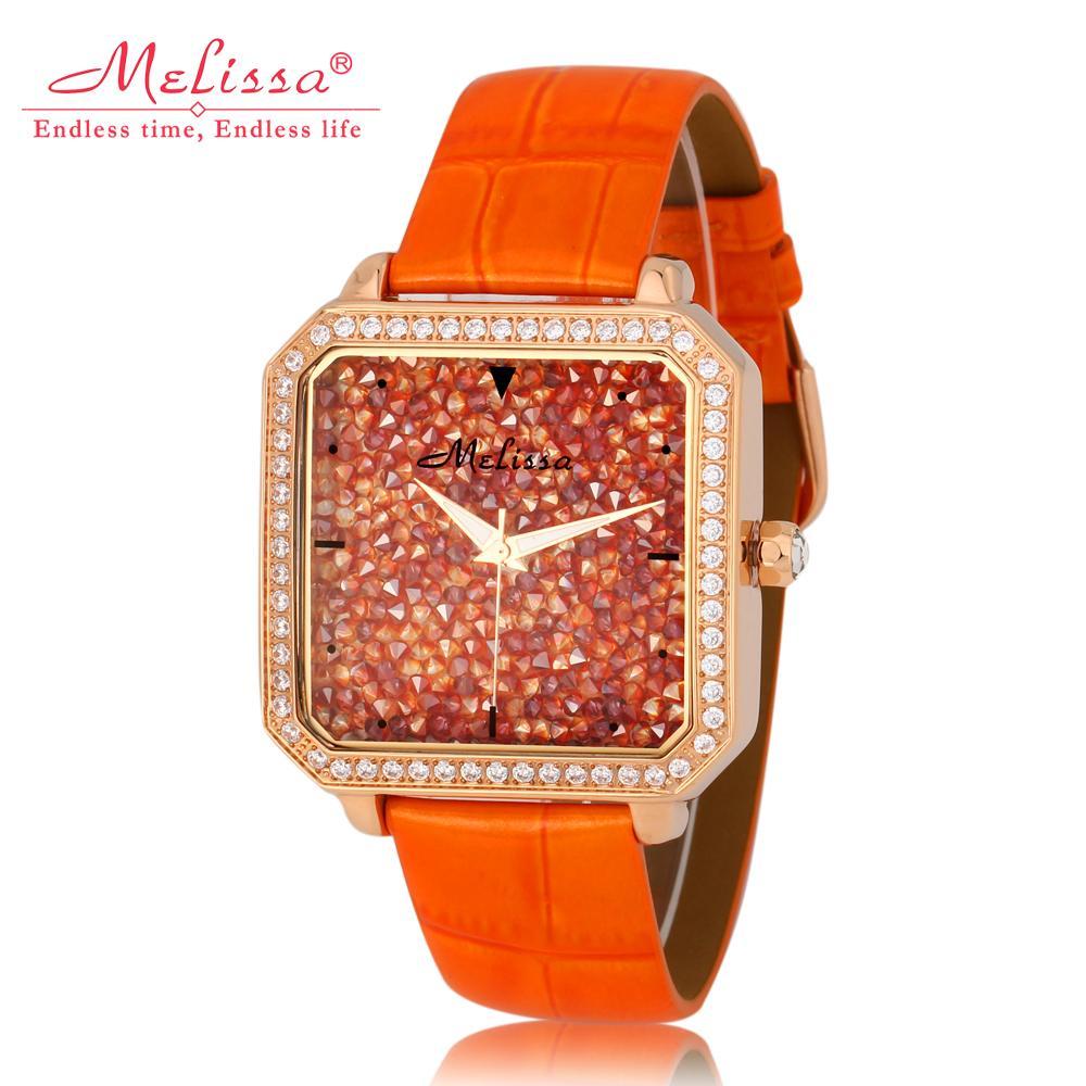 Luxe Starry Ontwerp Vrouwen Kristallen Horloges Merk MELISSA Vintage Vierkante Jurk polshorloge Analoge Relogio Feminino Montre F12118-in Dameshorloges van Horloges op  Groep 1