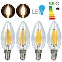 Dimmable Filament Warm White LED 4 10Pcs AC 220V E14 C35 6W Tungsten Filament Lamp