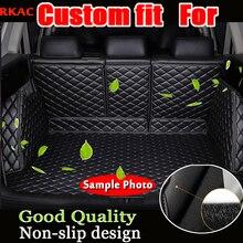 RKAC custom fit couro tapete mala do carro tapete de carga para peugeot 308 T9 2013 2014 2015 2016 2017 5d cargo liner Adesivos