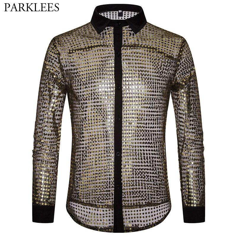 Shiny Gold Transparent Shirt Men 2018 New Sexy See Through Dress Shirts Men Nightclub Stage Prom Dance Sequin Glitter Shirt Male