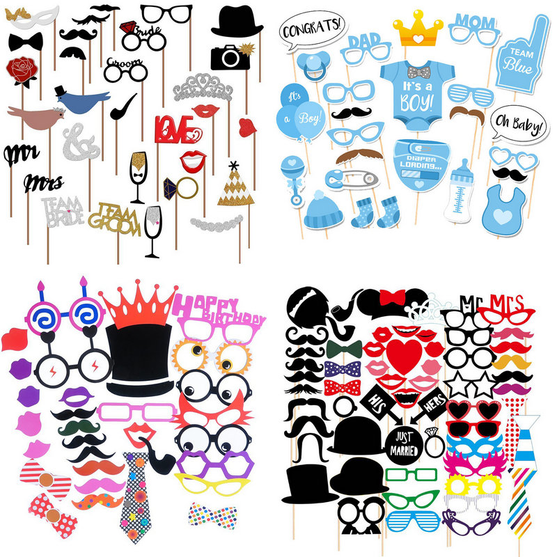 Fun Wedding Decoration Photo Booth Props DIY Mr Mrs Mask Glasses Photobooth Props Photo Accessories Wedding Event Party Decor