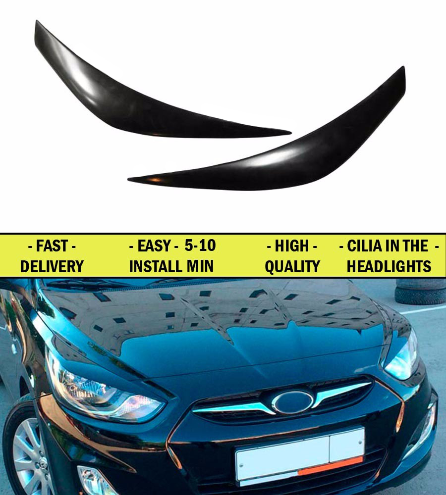Cilia eyebrows for <font><b>Huyndai</b></font> Solaris 2010-2013 ABS plastic 2pcs interior design light car styling lights decoration accessories image