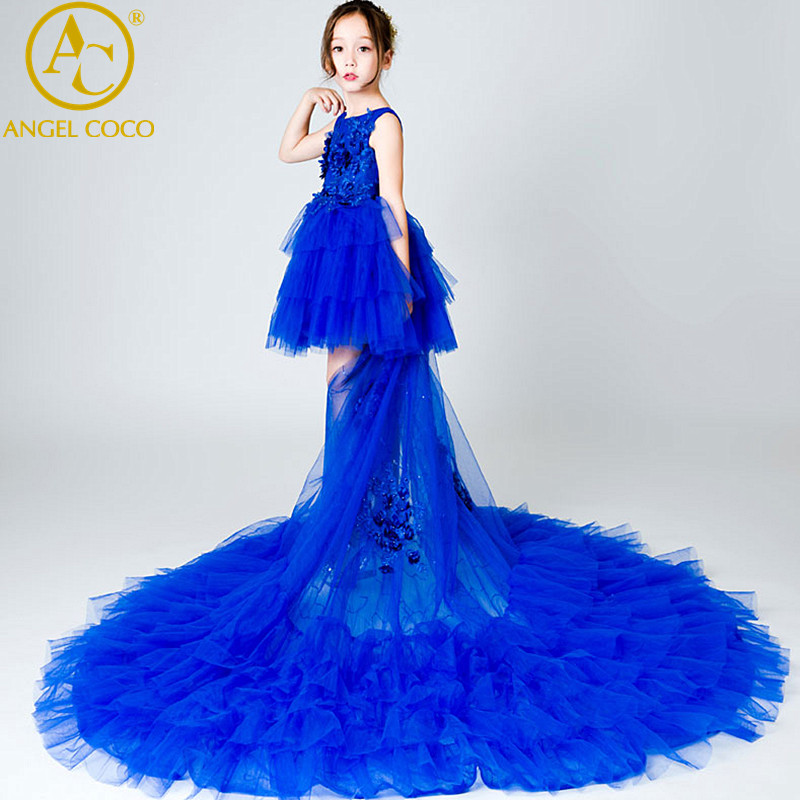 2018 New Girls Lace Dress Flower Tiered Tulle Dress Sleeveless Princess For Wedding Party Gown Children Clothes Robe de soiree