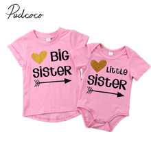 bd320d35f33 2018 Brand New Matching Cotton Clothes Big Sister T shirt Little Sister  Romper Outfit Casual Tops Summer Brief Clothes-in Matching Family Outfits  from ...