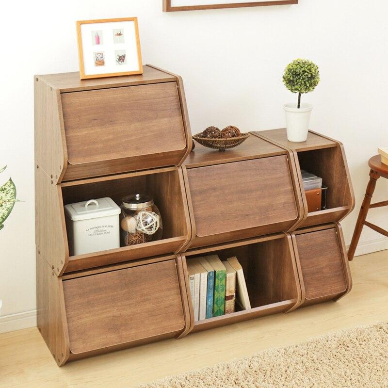 Avec couvercle boîte en bois armoires bibliothèque simple boîte de rangement marchandises étagère caisse en bois