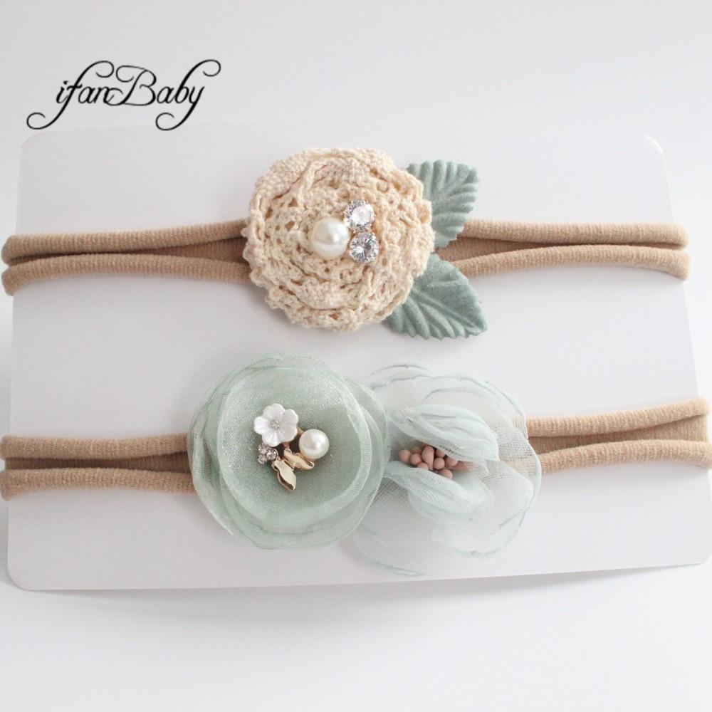 kids girl fabric flower headband nylon headband (8)