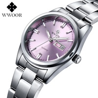 WWOOR Luxury Brand Lover S Watches Date Day Clock Female Stainless Steel Ladies Fashion Casual Watch