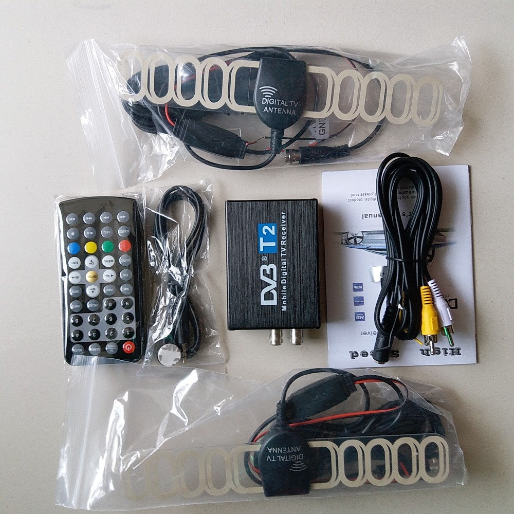 Car DVB T2 120km/h Double Antenna H.264 MPEG4 Mobile Digital TV Box External USB DVB-T2 Car TV Receiver Free shipping телеприставка qhisp iptv dvb t2 mpeg4 hd 40 car dvb t2