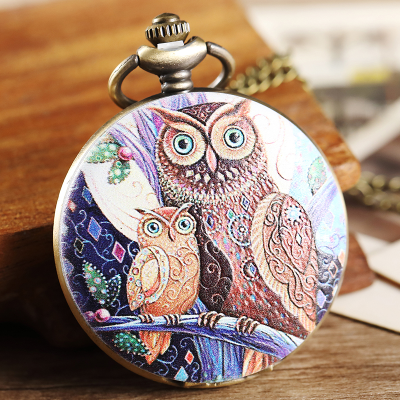 Vintage Purple Two Owl Pattern Pocket Watch Women Men Painted Steampunk Bronze Pocket Watch Elegant Women Necklace Pendant Chain otoky montre pocket watch women vintage retro quartz watch men fashion chain necklace pendant fob watches reloj 20 gift 1pc