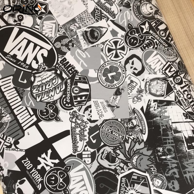 Black White Sticker Bomb Vinyl Wrap-5