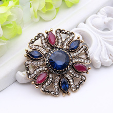 New Vintage Women Flower Brooch Turkish Jewelry Resin Antique Gold Arabesque Broches Brooches Hat Badges Ladies Scarf Hijab Pins