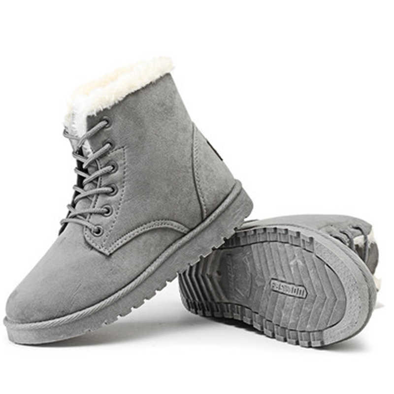 Frauen Stiefel Winter Schuhe Warme Pelz Schnee Stiefeletten Frauen Botas Mujer Lace Up Damen Winter Frau Schuhe Weibliche Tropfen verschiffen