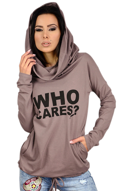 2016 Mujer Hoody Otoño Femenina Delgada de Manga Larga con Capucha Casual Mujeres Carta Imprimir Sudaderas Moleton Femenino Más Tamaño