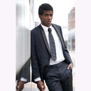 2018 Charcoal grey Mens Suit Blazer Black Shawl Lapel Slim Fit 2 Pieces gray tuxedo Groom wedding suits for men (Jacket+Pants)