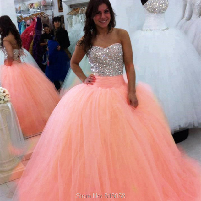 Sparkly Beaded Sweetheart Corset Coral Quinceanera Dresses Ball ...