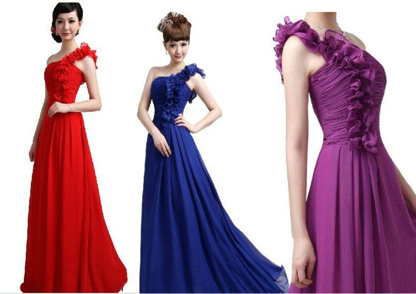 free shipping hilti elegant robe de soiree Chiffon Long Maxi Gown one shoulder handmade flower Ball Formal   Bridesmaid     Dress