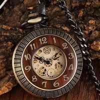 Einzigartige Holz Circel Getriebe Zifferblatt Bronze Antike Mechanische Taschenuhr Männer Jahrgang Gravierte Fob Hand Wind Steampunk Uhr Frauen