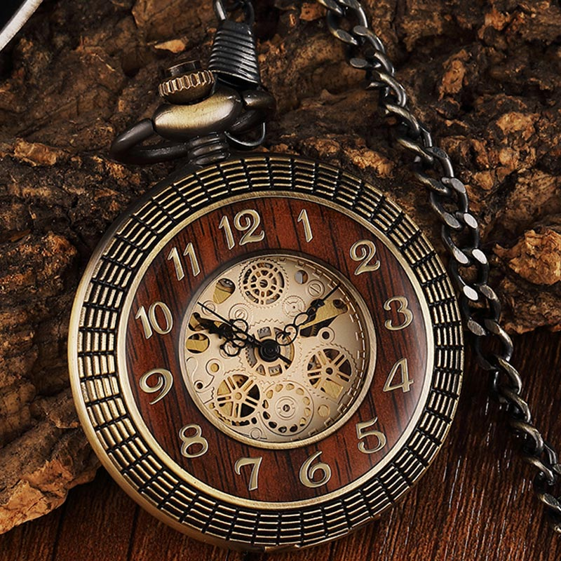Unique Wood Circel Gear Dial Bronze Antique Mechanical Pocket Watch Men Vintage Engraved Fob Hand Wind Steampunk Watch Women
