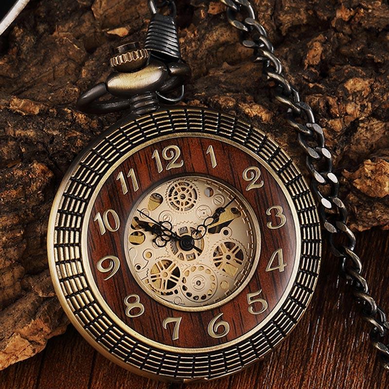 Unique Wood Circel Gear Dial Bronze Antique Mechanical Pocket Watch Men Vintage Engraved Fob Hand Wind Steampunk Watch Women