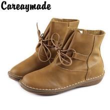 Careaymade-2019 new handmade head layer leather flat bottom short boots,cowhide RETRO art Mori leisure female boots 500680-6