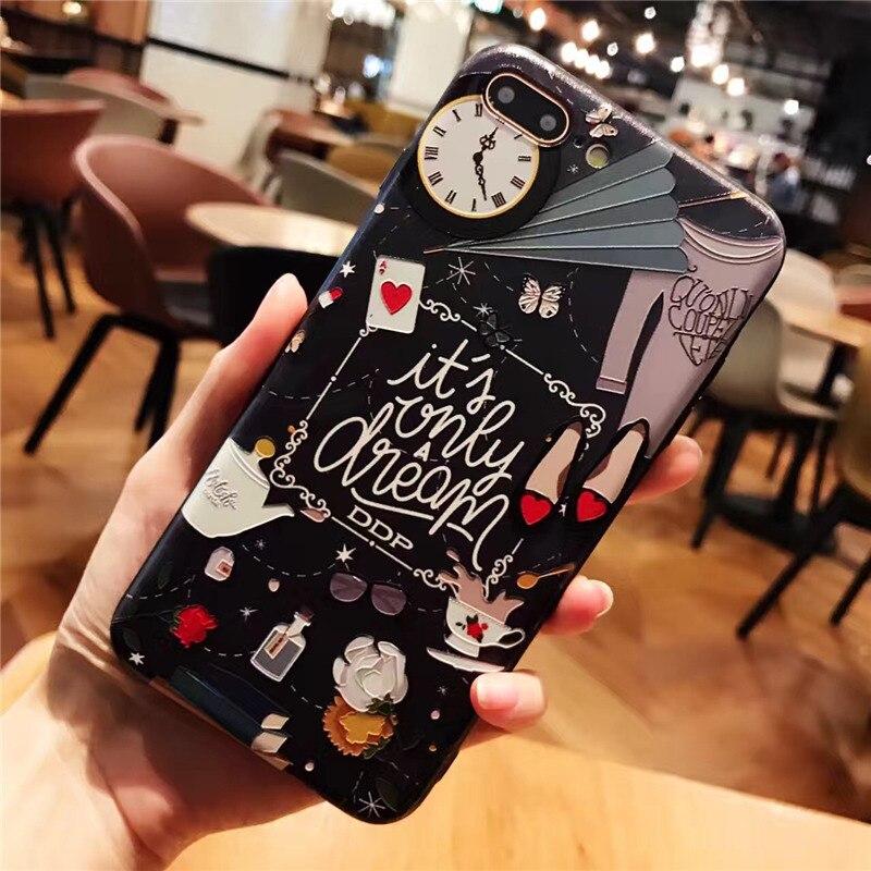 Adventures In Wonderland 3D Relief Case Silicones + Hard Plastic Iphone X XR XS XS Max 6 6S 7 8 Plus
