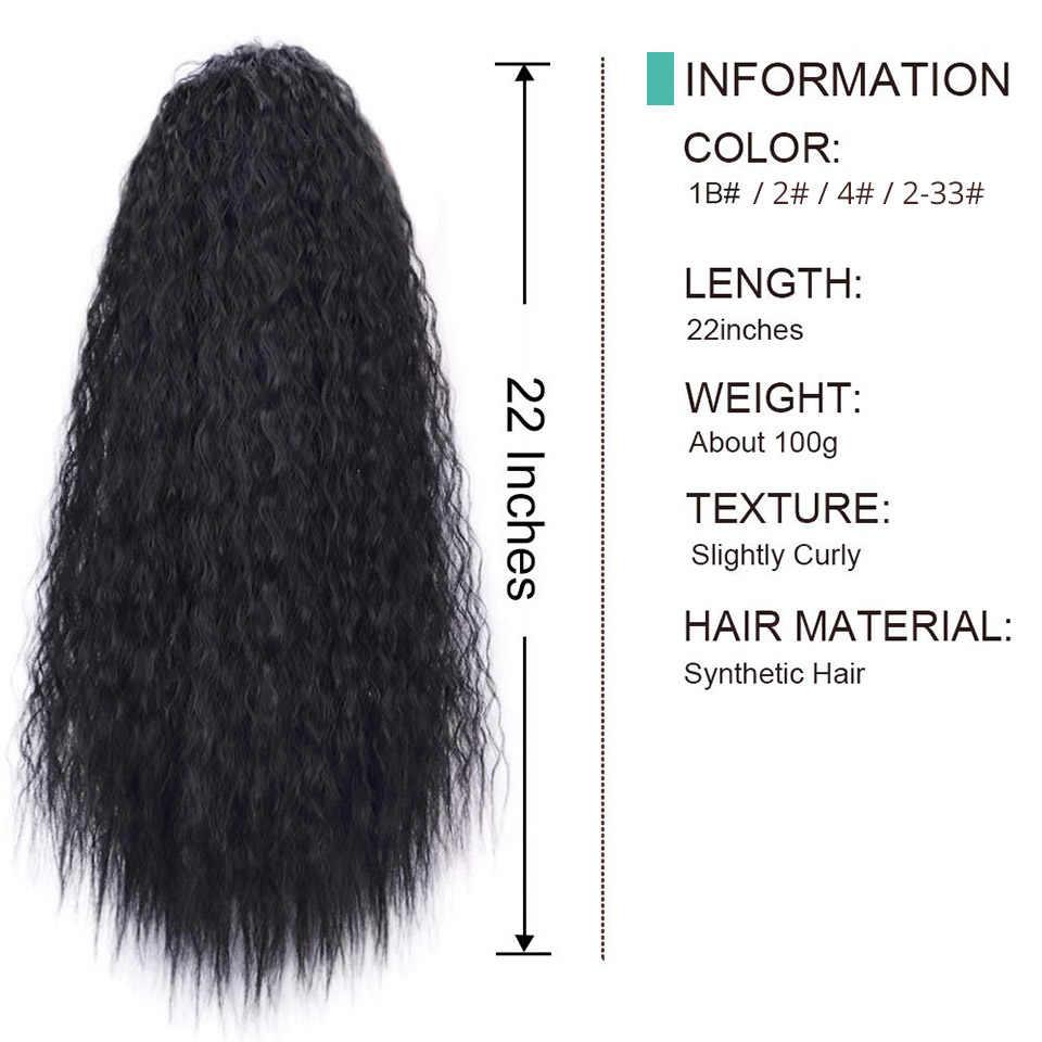 Pieza de pelo ondulado de maíz con cordón sintético de 22 pulgadas para mujer negro marrón