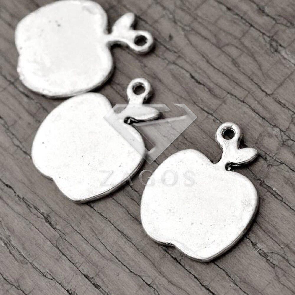 80Pcs Antique Silver Tibetan Silver Tone 17x13x1mm Apple Pendant Charms Zinc Alloy Fit Bracelet Necklace Wholesale TS2681