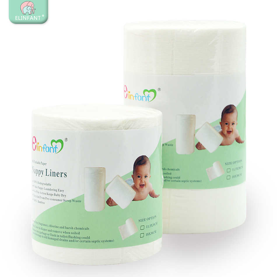 Elinfant 1 roll disposable bamboo flushable baby diaper nappy liner Biodegradable bamboo liner free shipping#SMT007#