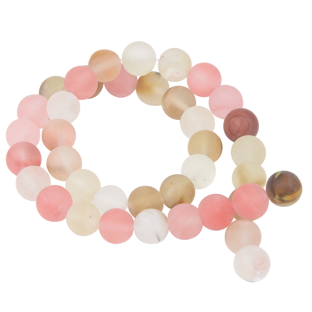 Polish Round Matte Frosted Tiger Eye Turquoises Natural Stone Beads Amazonite Watermelon Loose Beads for Bracelet