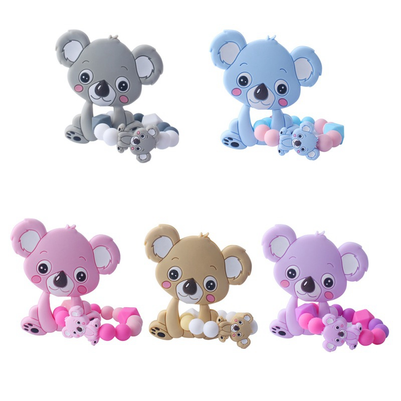 Baby Newborn Cartoon Small Modeling Practice Grasping Tooth Toy BPA Soft Silicone Beads Teether Gel Toy