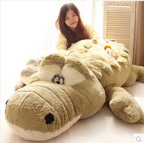 цены New Arrival 200cm Cute animals Big Size Simulation Crocodile Skin Plush Toy Cushion Pillow Toys For Girl kids toys