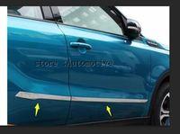 for Suzuki Vitara 2016 2017 car styling cover detector stainless steel Side Door Body trim sticks Strips Molding 4pcs