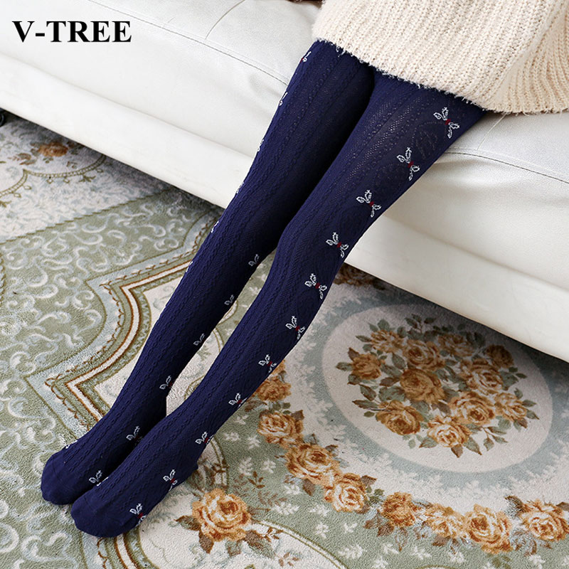 V-TREE Cotton Tights For Girls Cartoon Child Pantyhose Warm Girls Stockings Ballet Tights 3-14 Years Knitted Clothing