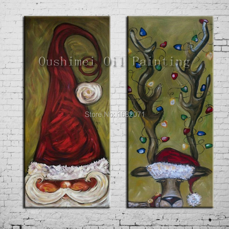 Free Shipping Superb Artist 100%Hand-painted High Quality Santa Claus And Reindeer Oil Painting On Canvas For Christmas Gift