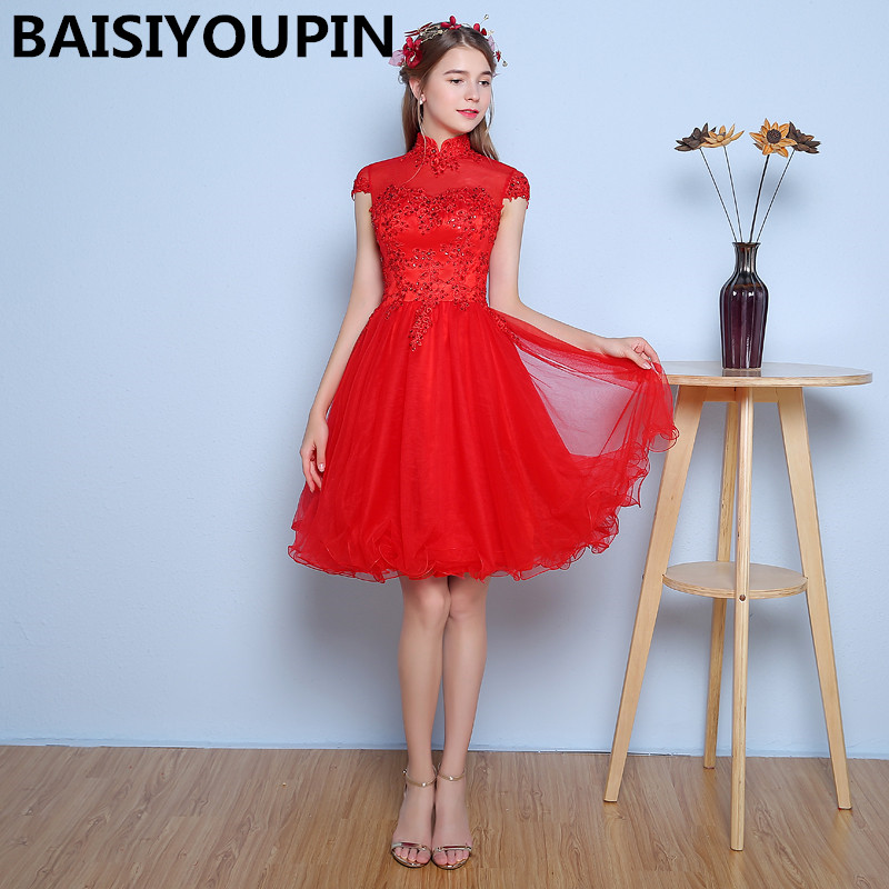Graduation   Dress   Vestidos De Renda 2019 High Neck Red Short   Prom     Dresses   Cheap Graduation   Dresses